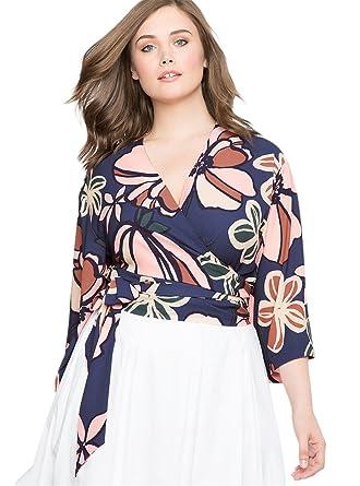d7017e606ec Plus Size 3 4 Sleeve Deep V Neck Cross Wrap Front Floral Waist Tie Blouse  Shirt Cropped Crop Surplice Top Blue at Amazon Women s Clothing store