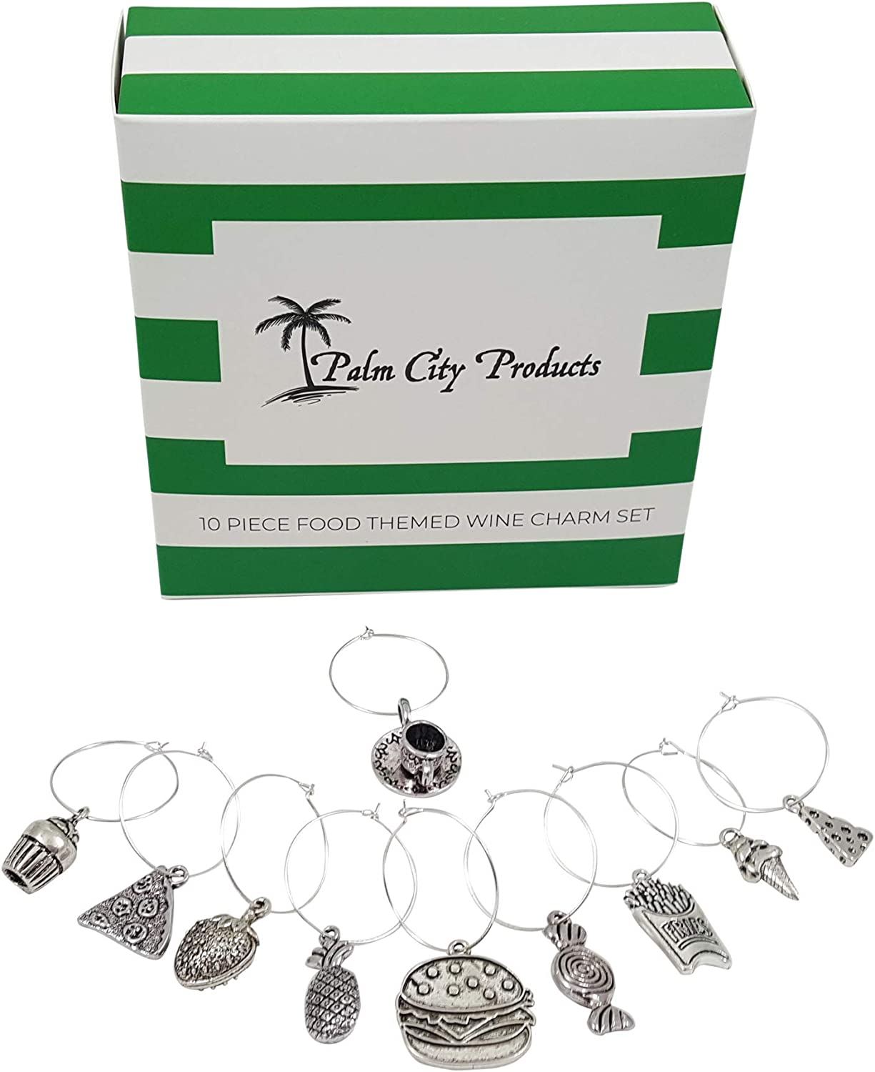 Food Lovers Themed Wine Charms - 10 Piece Wine Charm Set - Great Gift for Foodies