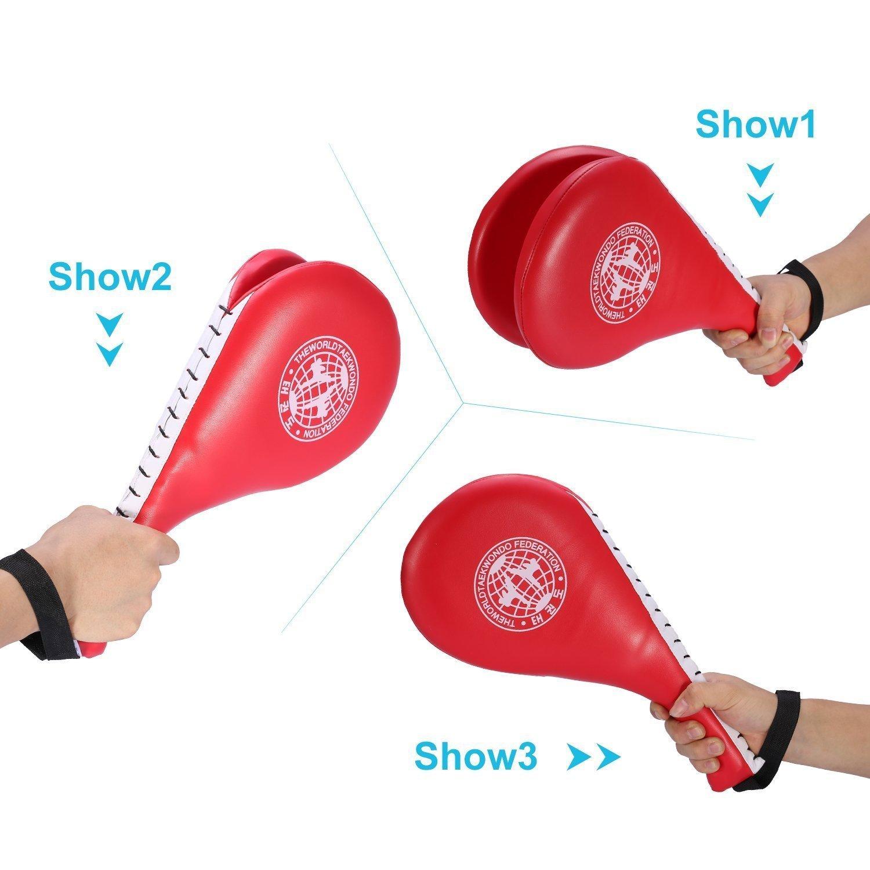 1 Pair Taekwondo Double Layer Kick Pad Kicking Foot Target Tae Kwon Do Karate Kickboxing Punching Training Martial Arts Equipment (Black) Vbestlife