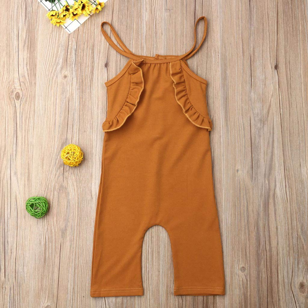 4Clovers Infant Toddler Baby Girl Romper Cotton Ruffle Jumpsuit Straps Bodysuit Playsuit Summer Outfit