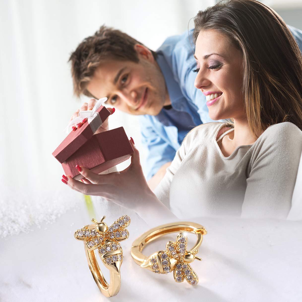 Richapex 18k Gold Plated Insect Earrings Cute Bumble Bee Hoop Earrings Vintage Animal Jewelry