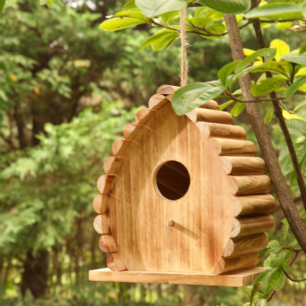 Bambeco Handcrafted FSC Certified Wood and Bamboo Outdoor Treated Dew Drop Hanging Bird House Habitat by bambeco