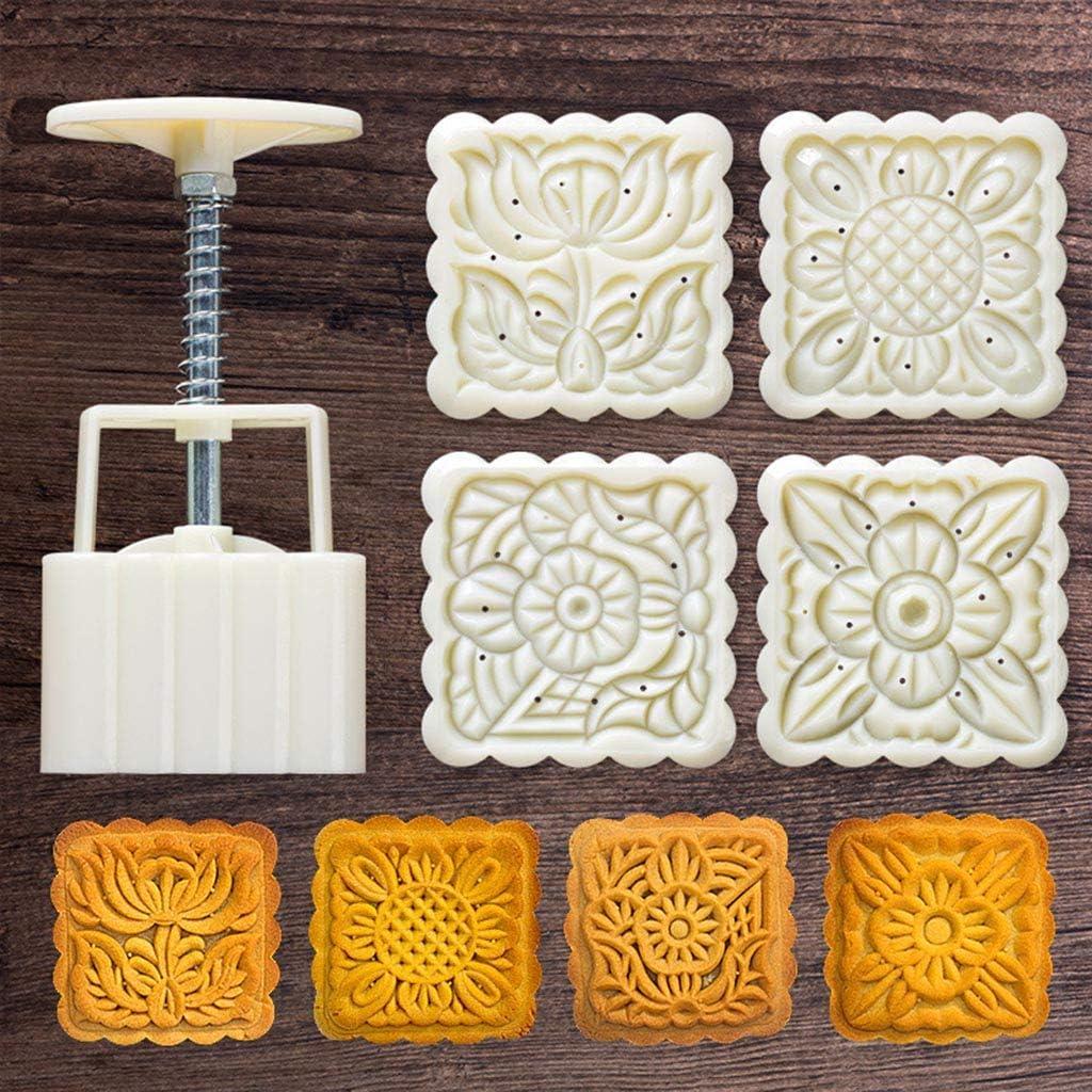 Mid-Autumn Festival Hand-Pressure Moon Cake Mould,QINYUAN,4pcs Square Hand Press Stamp Decor Barrel Mooncake Mold 125g Pastry DIY Tool