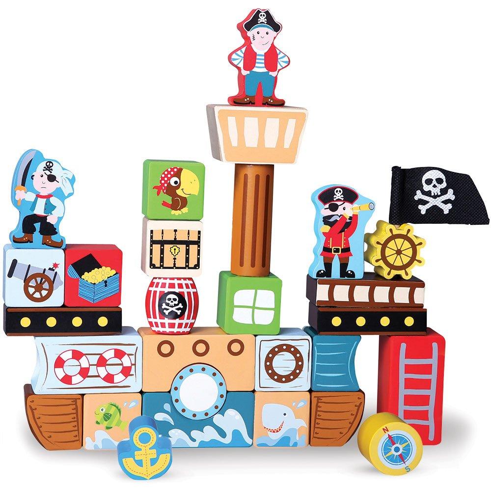 Blockbeard's Pirate Ship Wooden Building Blocks Playset (29 pcs.) by Imagination Generation