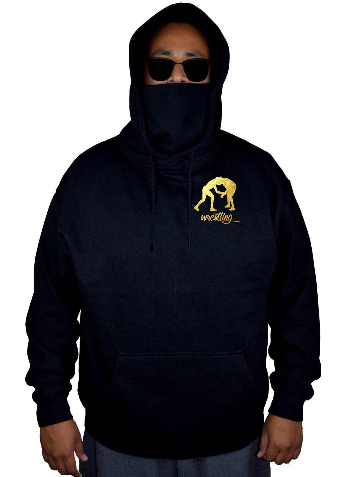 Interstate Apparel Men's Gold Foil Wrestling Emblem Black Mask Hoodie Sweater 5X-Large by Interstate Apparel