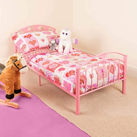 CHRISTOW Pink Toddler Metal Bed Frame Kids Bedroom Furniture Childrens  Bedframe Hearts