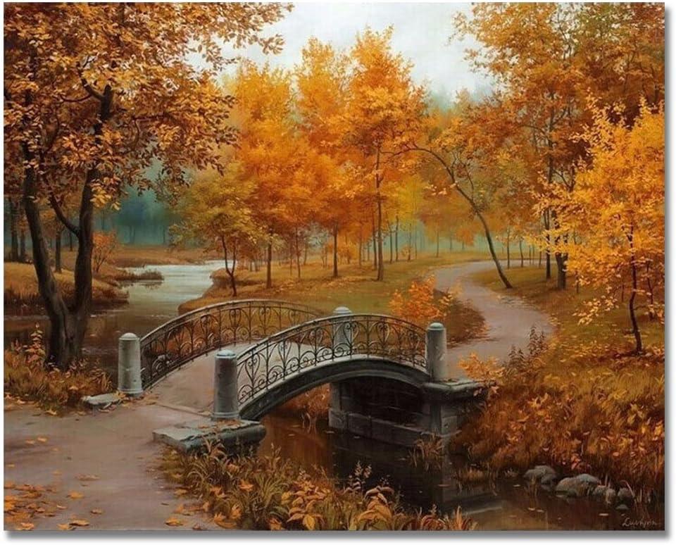 con telaio in legno Rihe Dipinto a olio fai da te dipingi coi numeri tema ponte sul fiume e alberi stampa su tela da parete con cornice in legno Cascata