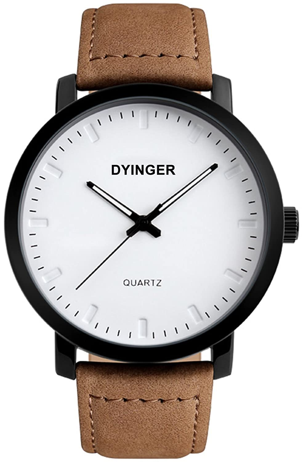 Mens Brown Leather Band Wrist Watch, Minimalist Analog Quartz Watch Classic Fashion Dress Watches For Men by Dyinger
