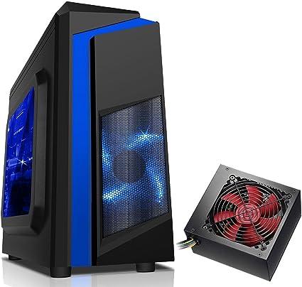 CiT F3 negro Midi Gaming Case con 12 cm ventilador con LED verde _ P azul 750 w: Amazon.es: Informática