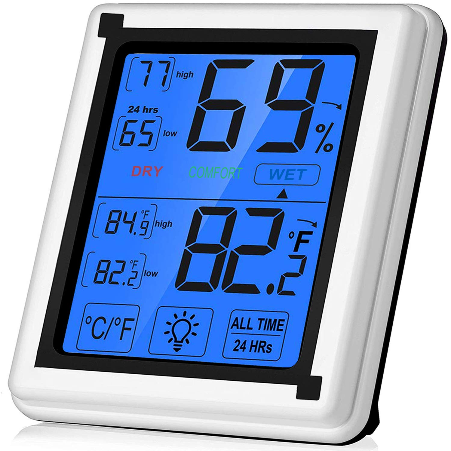 Large Touchscreen Digital Hygrometer Indoor Thermometer Humidity Monitor with Backlight for Home, Office, Nursing Room, Greenhouse, Warehouse and More (Battery Included) by TPFOON