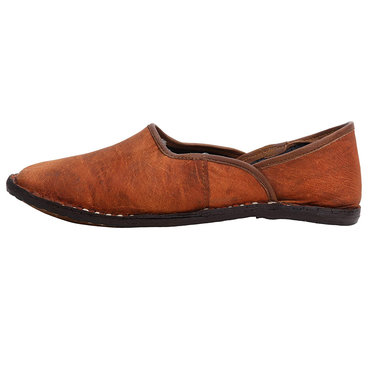 Mens Brown Jutti Shoe Loafer Handmade Indian Leather Classic Shoe