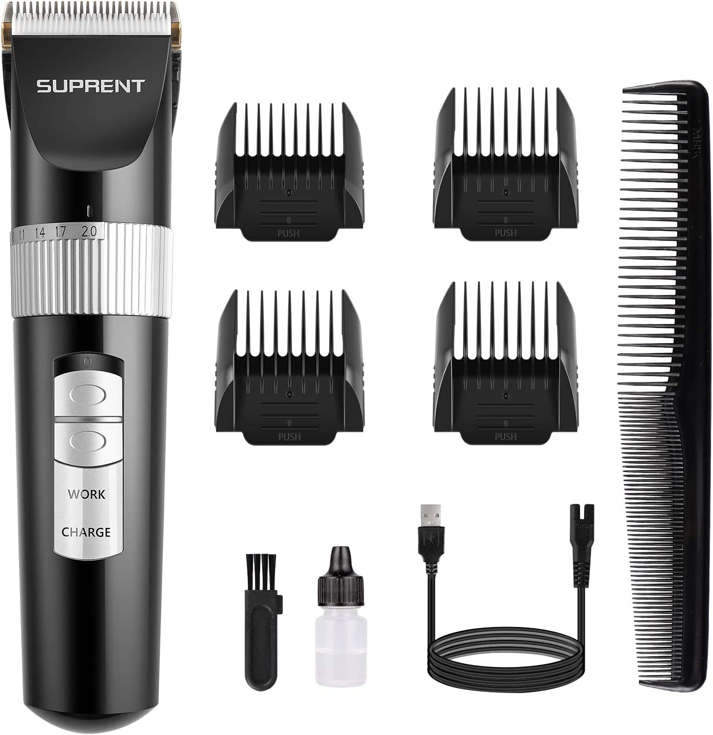 Hair Clippers SUPRENT Professional Cordless Rechargeable Haircut Kit WAS £20.99 NOW £10.49 w/code 8XF47LI4 @ Amazon