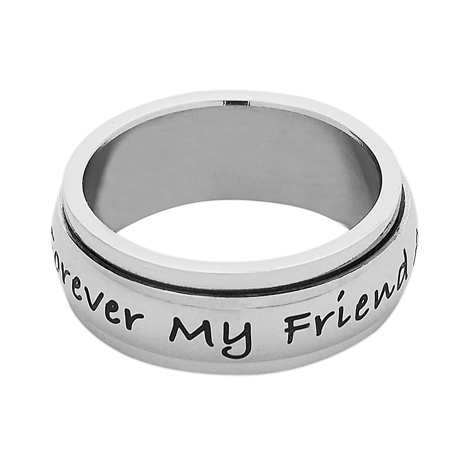 Always My Mother Forever My Friend Moms Ring Size 6 to 9 7mm Stainless Steel Womens Spinner Ring Jewelry for Mom from Daughter