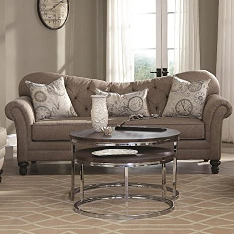 Amazoncom Coaster Carnahan Tufted Back Sofa in Camel Kitchen