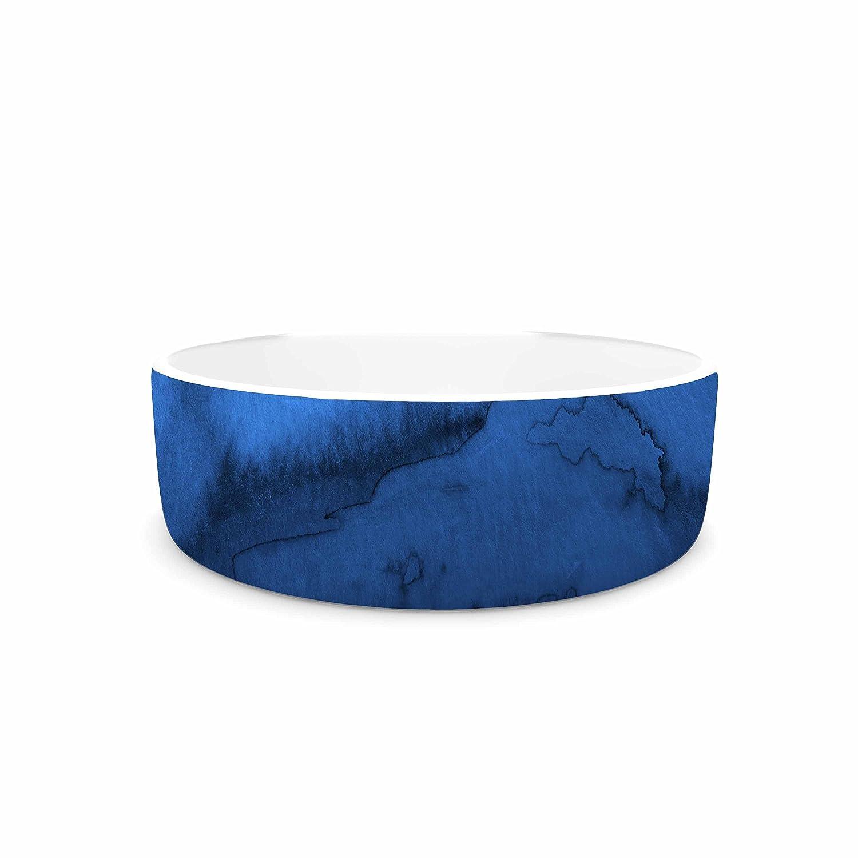 KESS InHouse EBI Emporium Winter Waves, Shades of bluee bluee Black Painting Pet Bowl, 7
