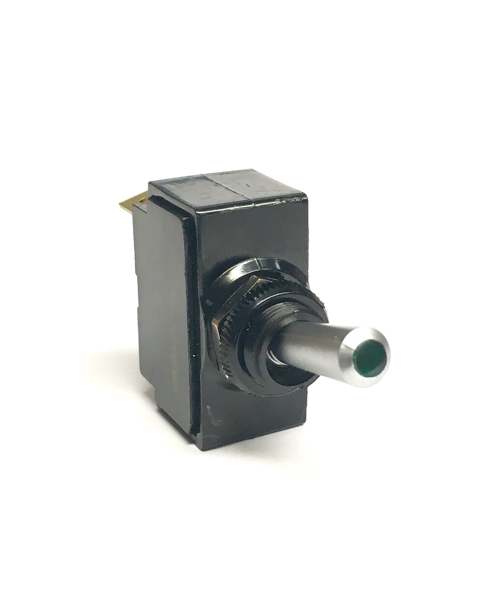 Toggle Switch ON/OFF, SPST, Lighted Green Lens