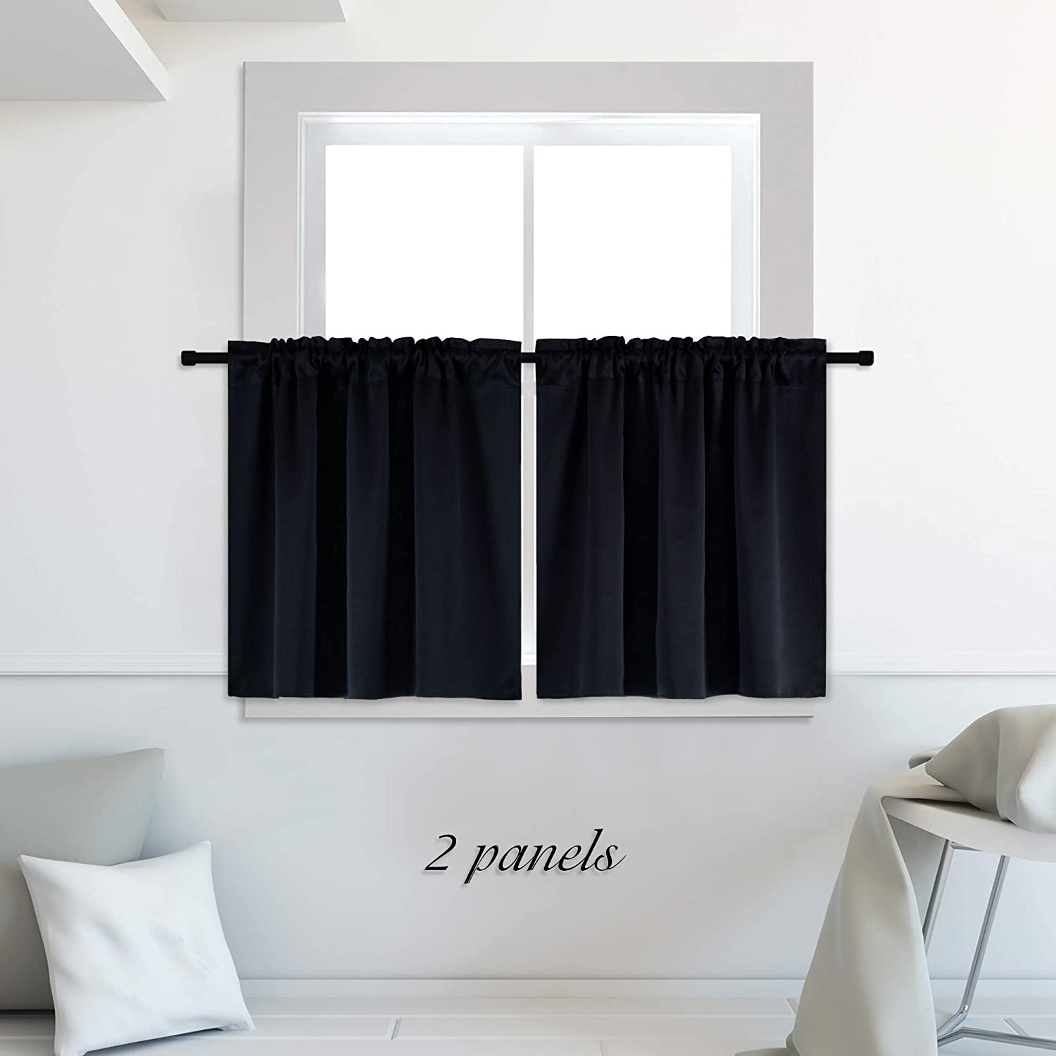 DONREN Blackout Energy Saving Kitchen Curtains,Thermal Insulating Blackout Rod Pocket Curtain Tiers for Bathroom (42 by 30 inches, Set of 2 Panels,Black)