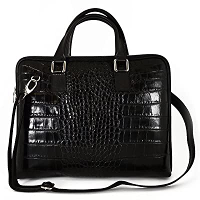 good Dream Leather Bags Made in Italy Genuine Leather Genuine Leather Woman Briefcase Crocodile Printed Color Black