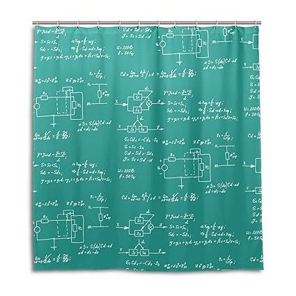 jstel Decor cortina de ducha (matemáticas ecuación y cálculos pizarra patrón impresión 100% poliéster