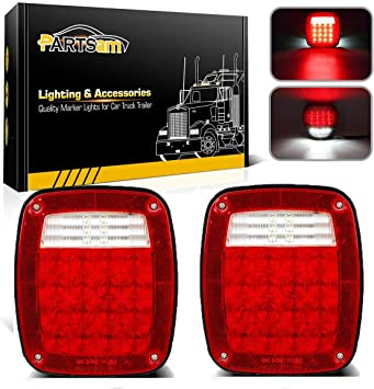 2 Years Warranty Nilight TL-21 2PCS 39 LED Universal Stop Turn Tail Light for Truck Trailer Boat Jeep 12V Stud Mounted Red//White Lamp