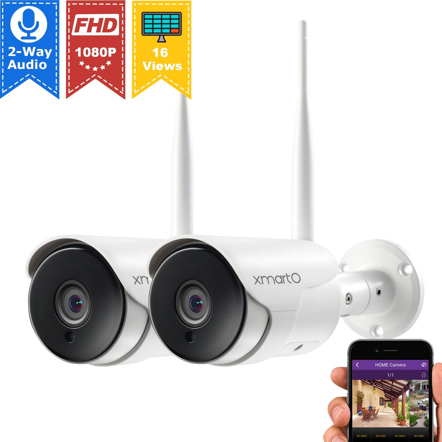 xmartO XMARTO 1080p HD Wireless Security Camera, Two-Way Audio, WiFi IP Home Surveillance Bullet Camera with Night Vision, Remote Access, IP65 Weather-Resistant, Motion Detection Alert 2-Pack