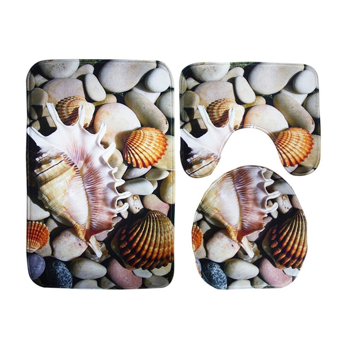 Ounona igienica di ghiaia tappeto conchiglia mare Beach 3pcs tappetino da bagno + tappetino + coprisedile WC tappetino FEMDBUFJBJB497