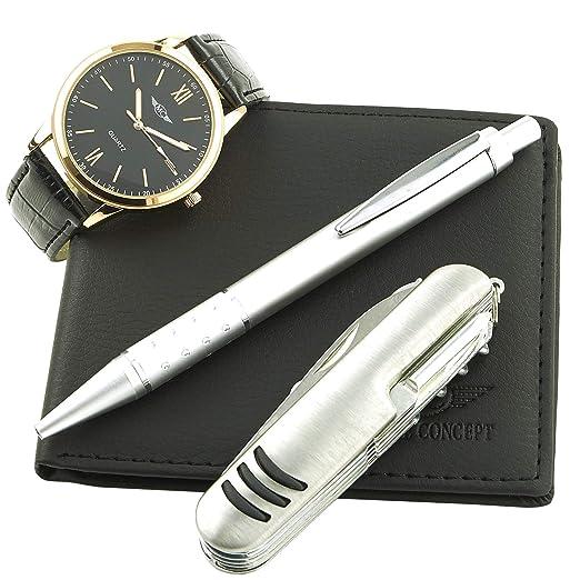 Montre-Concept - coffret cadeau montre Homme avec couteau multifonction ,  portefeuilles et stylo   a7b14ac5d40