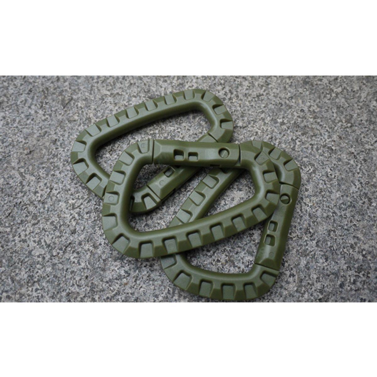 TIANOR 5 piezas Llavero Gancho Mosquet/ón de Pl/ástico Forma D para Pesca Excursiones T/áctico Mochila para colgar Verde
