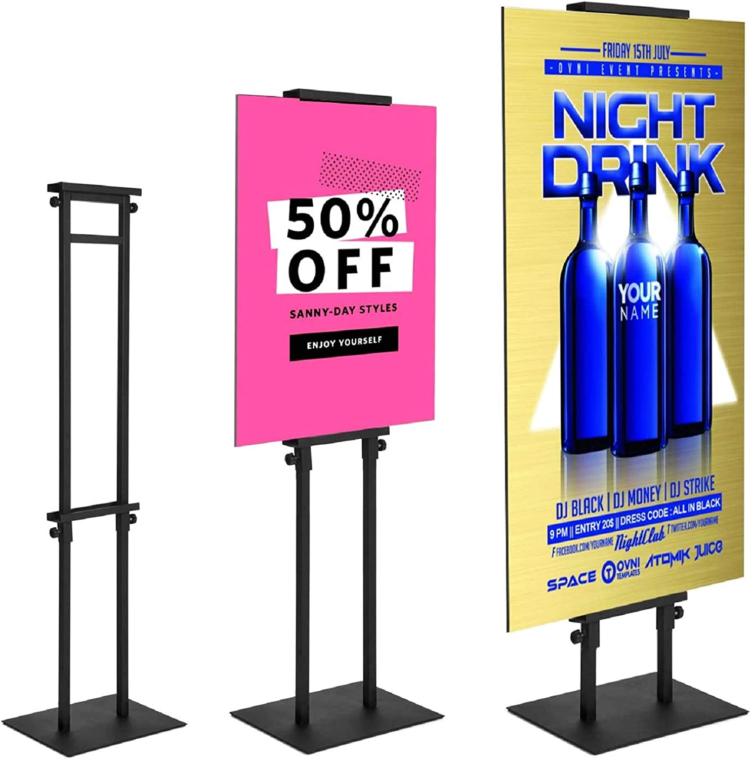 Poster Stand for Display Pedestal Sign Stand,Adjustable Floor Standing Sign Holder,Heavy Duty Banner Stand with Base Height Up to 75 inch Double-Sided for Board & Foam Sign (75in)