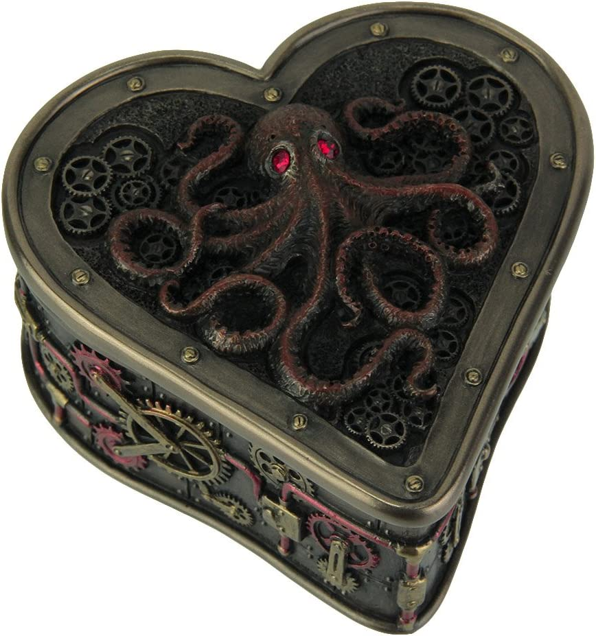 Resin Decorative Boxes Heart Shaped Steampunk Octopus Trinket/Stash Box 4 X 2.25 X 4 Inches Bronze