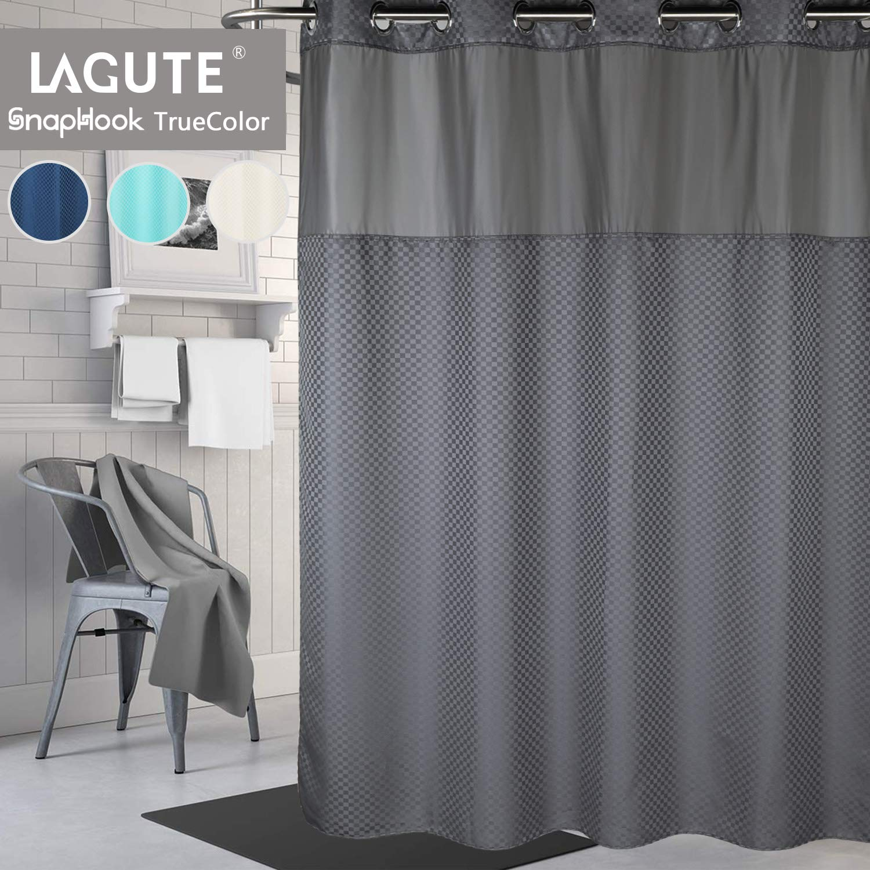 Lagute Snaphook TrueColor Hookless Shower Curtain, Gray