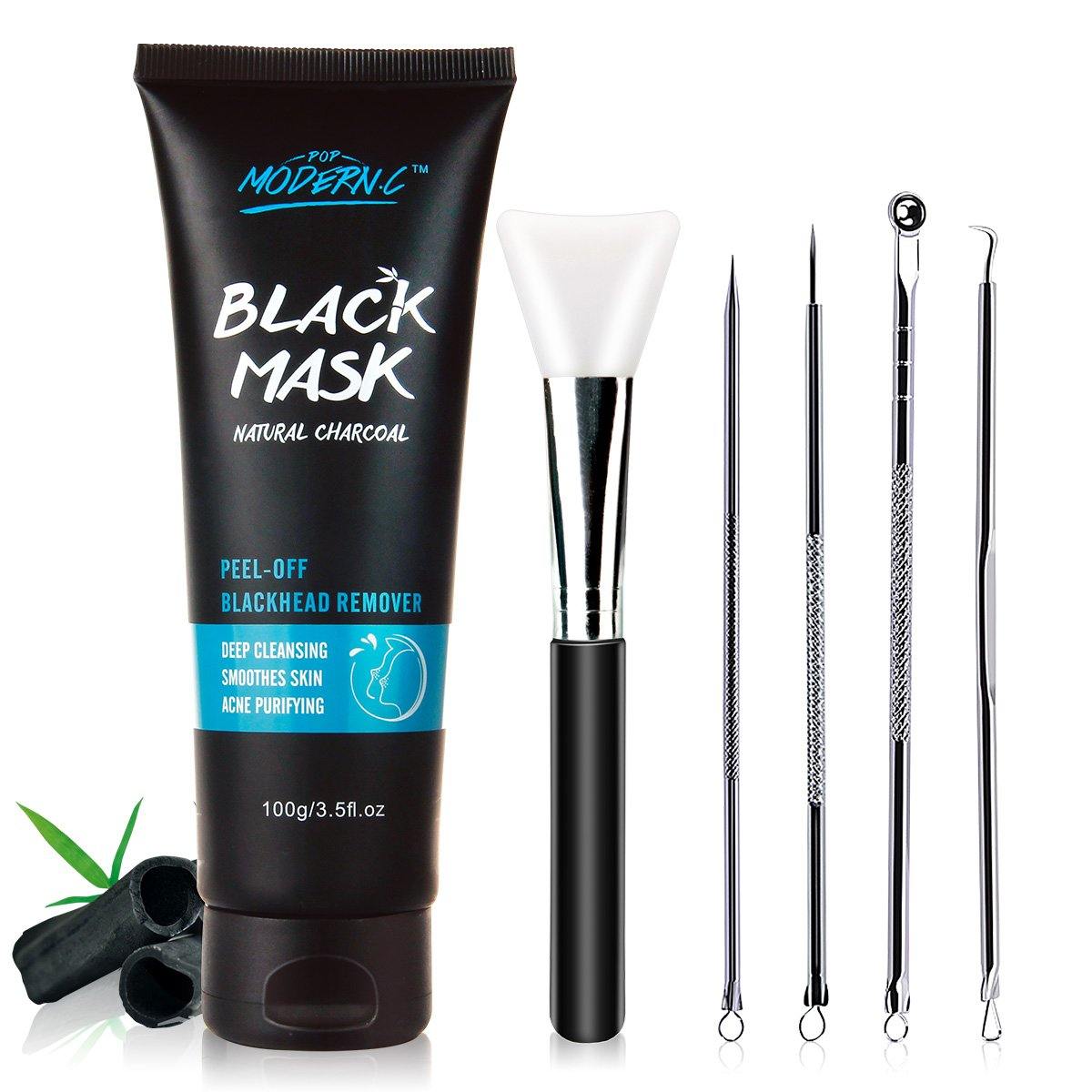 Black Mask-Blackhead Removal Mask Peel Off Facial Black Mask 3.5 oz(100 G) Pore Control, Skin Cleansing, Purifying Bamboo Charcoal With Blackhead Remover Extractor Tools Kit & Mask Brush POP MODERN.C