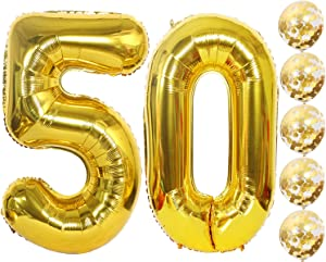 Fvviia Gold Number Balloons 50 Gold Confetti Balloons | 40 Inch Foiil Gold Balloons Number 50 | 5 Gold Confetti Balloons, 12 Inch|50th Gold Balloon |50th Wedding Anniversary Decor Gold | 50th Gold Birthday| Party Supplies
