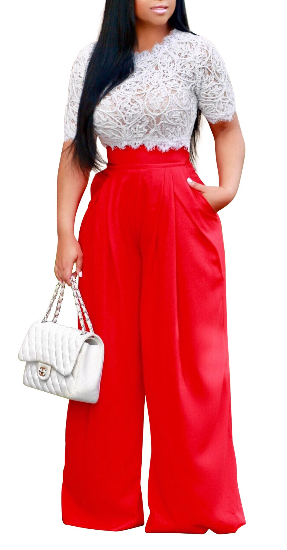 Women's Sexy 2 Piece Outfits Mesh See Through Crochet Lace Crop Top with High Waist Wide Leg Long Palazzo Pants Set (Medium, Red)