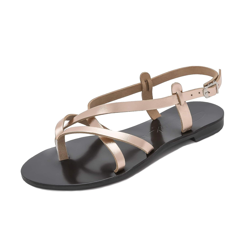 Schmick Sandales B077BVV5YZ Artemis : Or Chaussures Femme d'été grecques pour Femme Plates en Cuir bohèmes Chics Faites à la Main Or Rose/ Noir f06feac - shopssong.space