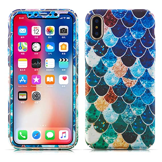 Zcdaye Luxury Colourful Textured Mermaid Scales Design Ultra Slim Hard Back Case Geometric Pastel Waves Chic Pattern With Free Screen Protector