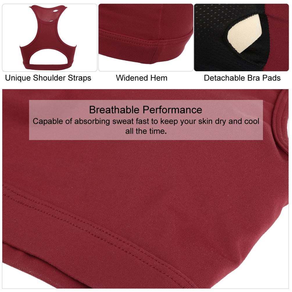 FITIBEST Women Wireless Sports Bra Padded Exercise Bra Wirefree Yoga Bra High Impact Workout Bra Breathable Fitness Racerback with Back Phone Pocket, Wine Red