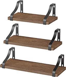 Homemaxs Floating Shelves Wall Mounted, Set of 3 Rustic Solid Wood Floating Shelf for Wall, Bathroom, Living Room, Bedroom and Kitchen, Wall Storage Shelf Fit for Any Style Home Decor-Rustic Brown