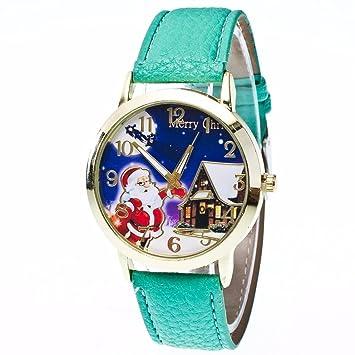 upxiang Mode Navidad Antiguos patrón Relojes, Vogue Quartz Analógico Correa De Piel Relojes, relojes, Mujeres navideño Vogue Mujer: Amazon.es: Jardín