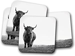 4 Set - Highland Cow Coaster - Cattle Bull Scotland Winter Scottish Gift #14885