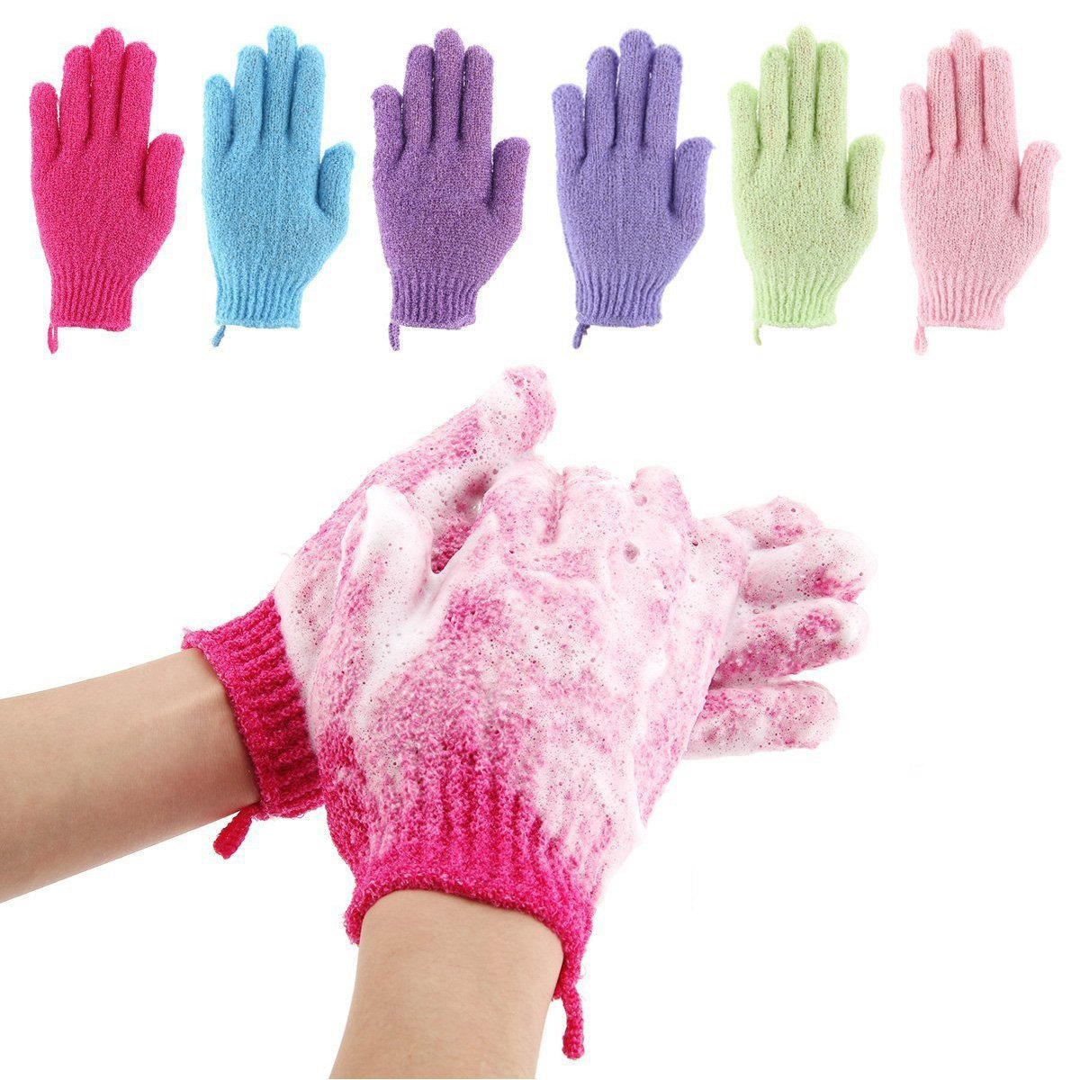 Codream 6 Pair Bath Exfoliating Gloves Nylon Shower Gloves, Bath Scrubber, Body Spa Massage Dead Skin Cell Remover Valentine's Gifts for Women Men