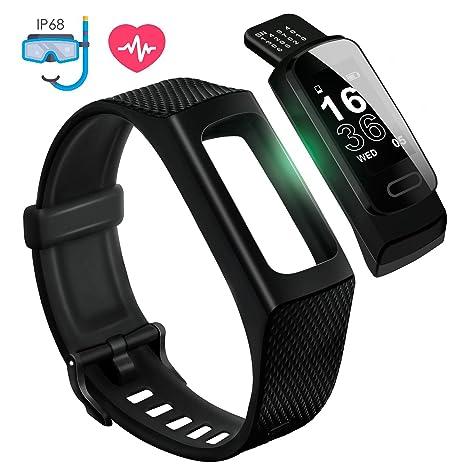 4UMOR Pulsera Actividad Monitor de Ritmo Cardíaco, Pulsera Inteligente de Deporte con Pulsómetro para Fitness