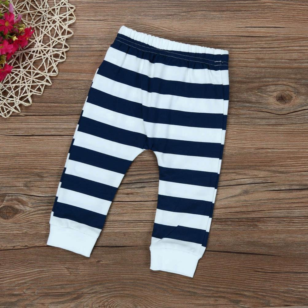 iumei Baby Stripe Long Sleeve Hoodies with Ears+Pants Black and White Clothing Sets Outfits