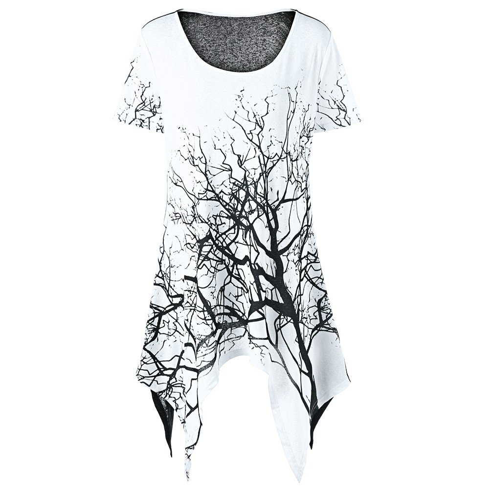 384508501927 Hannea Plus Size Tree Print Asymmetrical T-Shirt: Amazon.in: Clothing &  Accessories
