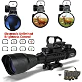 Rifle scope,UMsky 4-12x50 Air Rifle Scopes Red&Green Mil-Dot Illuminated Hunting Scope Sight for Tactical Hunting Rifle Scopes Optics
