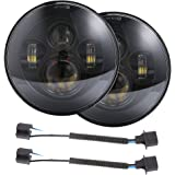 TRUCKMALL 7 inch LED Headlights DOT with Cree Chip Bulbs Lights Set Kit Accessories Smoke Projector Headlamp Headlight Light Lamps for Jeep Wrangler JK JKU TJ LJ