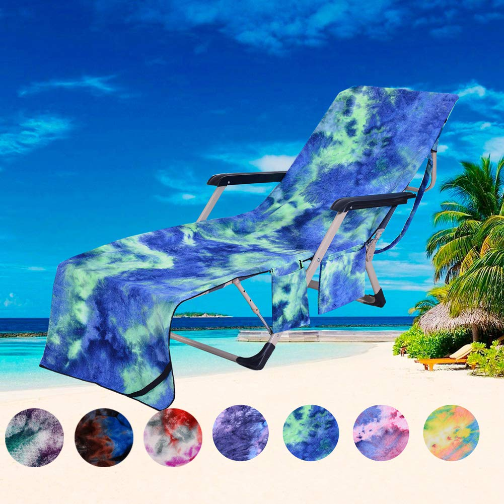 PJSNEW Beach Chair Cover, Microfiber Chaise Lounge Towel Cover with Storage Pockets for Pool Sun Lounger Hotel Garden Green Tie-Dye