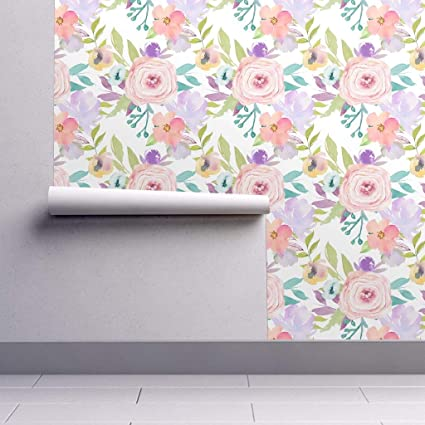 Removable Water Activated Wallpaper Floral Watercolor