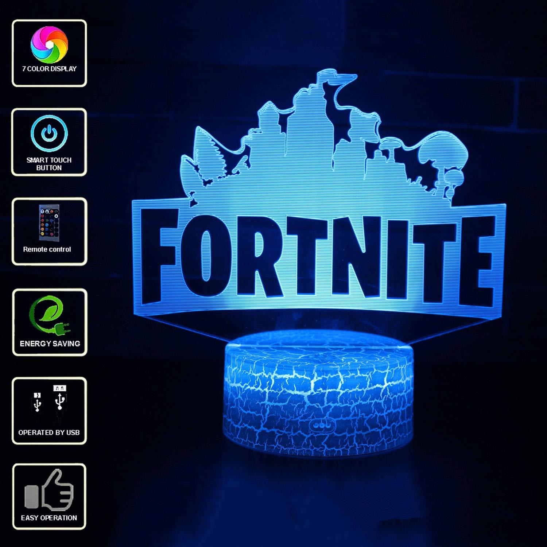 FORTNITE 3D Visuelle Lampe, LED Schlafzimmer Lampen Night Light Kunst Skulptur Lichter Schreibtisch Lichter für Kinder Geschenk Mit Fernbedienung. (Model 2) UGUI