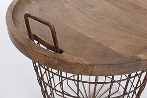Priti 2-in-1 Steel Basket Side Table Storage Basket, Coffee